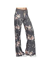 Bravetoshop Women's Loose Casual Pajama Pants Floral Print Drawstring Palazzo Lounge Pants Wide Leg Long