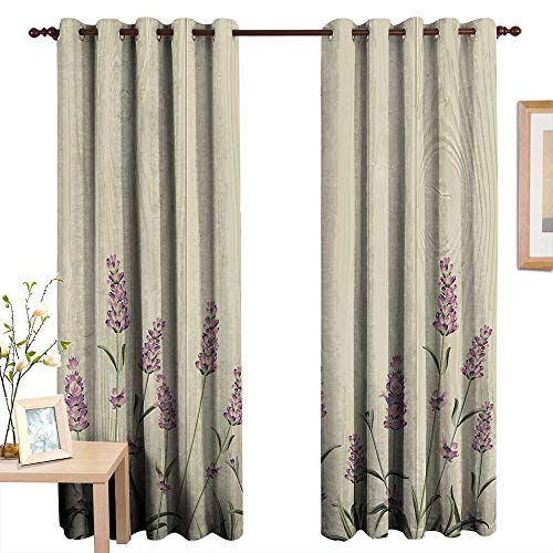 Customized Curtains Lavender,Aromatic Herbs on Wooden Planks Springtime Nature Botany Illustration,Beige Lilac Sage Green,Blackout Draperies for Bedroom Living Room 84