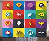 Ambesonne Superhero Curtains, Retro Superhero Badge Patchwork Style Several Logo Signs Comic Humor Artwork, Living Room Bedroom Window Drapes 2 Panel Set, 108 W X 108 L Inches, Multicolor Review