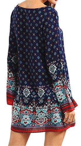 Grande Saveur Des Femmes De Robe T-shirt Imprimé Ethnique Été Vintage Blouse À Manches Longues Bleu Saphir