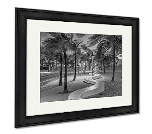 Ashley Framed Prints Fort Lauderdale Beach, Wall Art Home Decoration, Black/White, 26x30 (frame size), Black Frame, - Lauderdale Ft Shops Beach