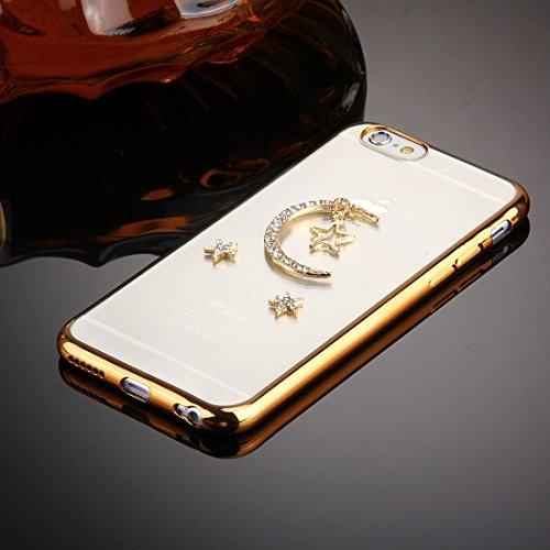 Phone case & Hülle Für iPhone 6 / 6s, Diamond verkrustet Star und Moon Pattern Galvanisieren Frame TPU Schutzhülle