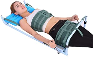 Portable Back Lumbar Traction Device for Bed, Home Use Cervical Spine Extension Stretcher Device, Improveing Spine Posture Corrector, for Lumbago Low Back Pain
