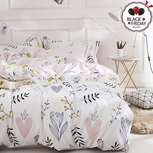 VCLIFE Girl Bedding Sets Twin Shabby Chic Floral Love Hearts Branches Pattern Twin Duvet Cover Sets White Pink Botanical Flower Print 1 Duvet Cover 2 Pillow Cases Twin for Children Baby Woman (Style Sets Vintage Bedding)