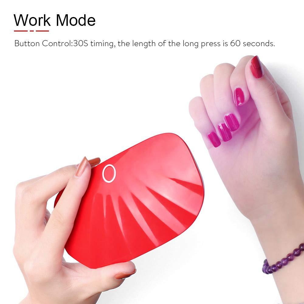 lesgos l/ámpara de u/ñas de gel UV port/átil de USB forma de concha de secado r/ápido bolsillo LED esmalte de u/ñas l/ámpara de curado U/ña de dedo con temporizador de 30 y 60 s Mini l/ámpara de u/ñas