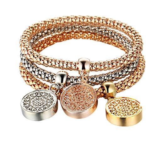 Price comparison product image Chenway 3PCS / Set Women Rhinestone Bracelet, Rose Gold Women Wristband, Charm Bangle Bracelet (D)