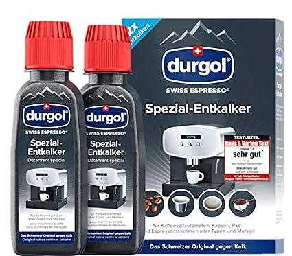 Durgol Swiss espresso Spezial-Entkalker – Kalkentferner für Kaffeemaschinen aller Typen und Arten – Einfache Reinigung ohne E