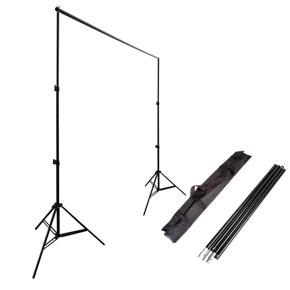 Hersmay 2.6x3m Backdrop Stand Photography Background Support System Heavy Duty Backdrop Stand Holder Crossbar Kit with Carrying Case for Paper Muslin Vinyl Non-Woven Backdrops by Hersmay