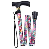 Fashion Folding Cane – Collapsible Lightweight Walking Stick for Men and Women – Adjustable Mobility Aid with Soft Comfort Grip – Purple Fuchsia Floral Design