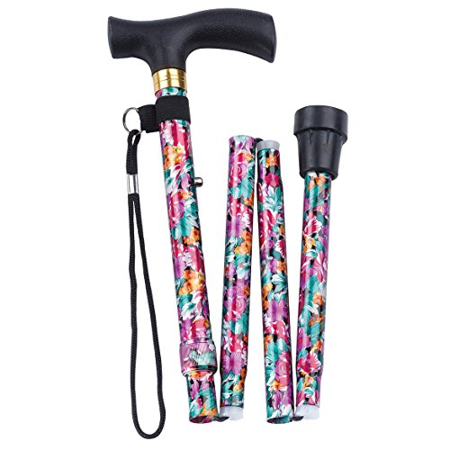 Fashion Folding Cane - Collapsible Lightweight Walking Stick for Men and Women - Adjustable Mobility Aid with Soft Comfort Grip - Purple Fuchsia Floral Design (Cane Floral)