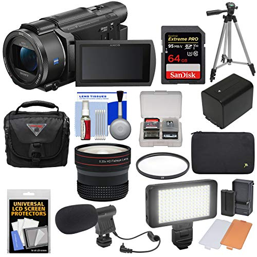 Sony Handycam FDR-AX53 Wi-Fi 4K Ultra HD Video Camera Camcorder with 64GB Card + Battery + Case + Tripod + LED Light + Microphone + Fisheye Lens + - Video Camera Sony Microphone