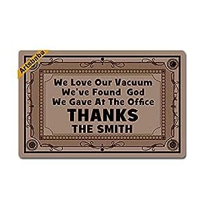 """Artsbaba Personalized Your Text Doormat We Love Our Vacuum We've Found God Doormats Monogram Non-Slip Doormat Non-woven Fabric Floor Mat Indoor Entrance Rug Decor Mat 23.6"""" x 15.7"""""""
