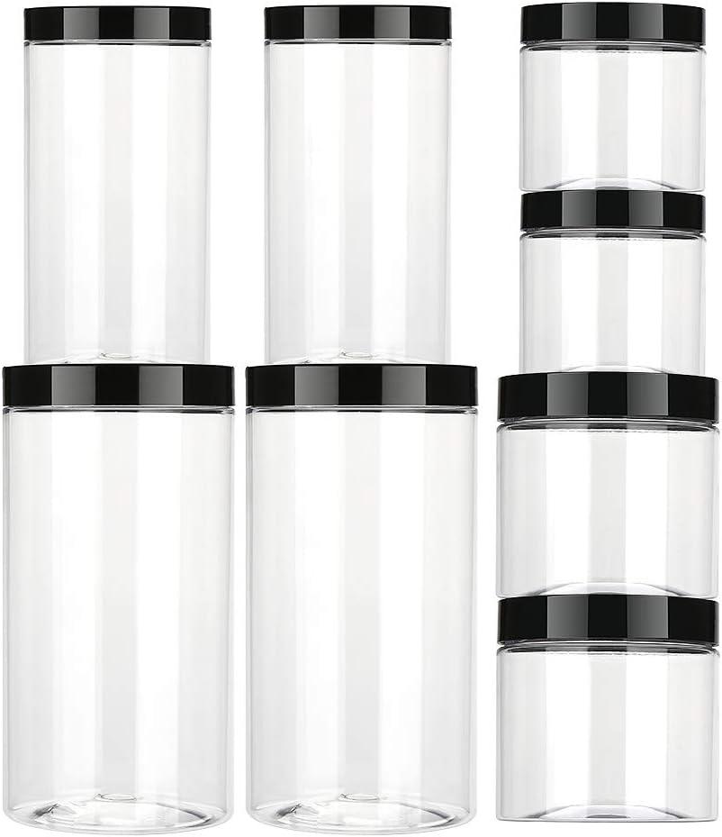 Aitsite Vaso de plástico con Tapa Botes de Polietileno Alimentario Recipiente Pet con Tapa de Rosca para Alimentos, Transparente Botes Cocina Recipientes Slime Contenedor-8 Pack