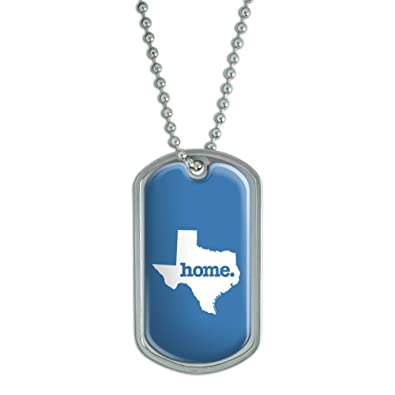texas tx home state dog tag pendant necklace chain solid denim