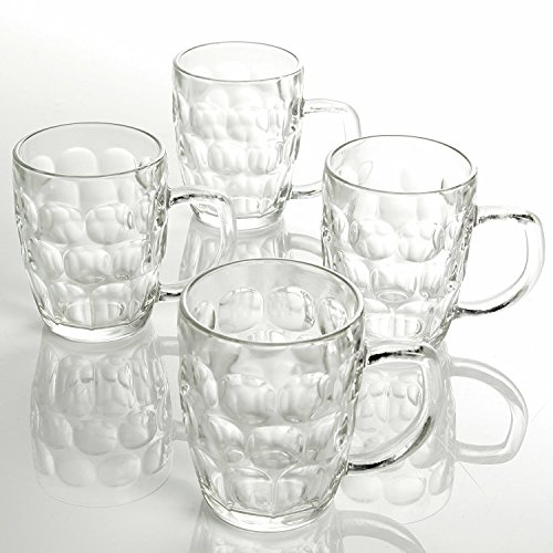 Tableau 4-Piece Embossed Glass Beer Mugs, 18-Ounces, Clear by Tableau