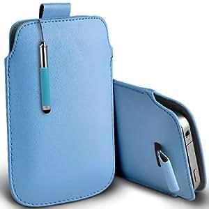 ONX3 Acer Liquid S2 Leather Slip cuerda del tirón de la PU de protección en la bolsa Quick Case Desc y Mini capacitiva lápiz bolígrafo retráctil (Baby Blue)