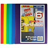 Top Flight Two Pocket Portfolio with Tangs, Assorted Colors, 6 Pack (4660255)