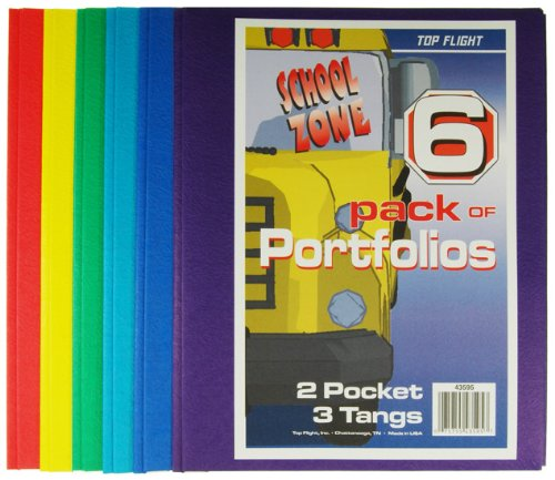 Top Flight Two Pocket Portfolio with Tangs Assorted Colors 6 Pack (4660255)