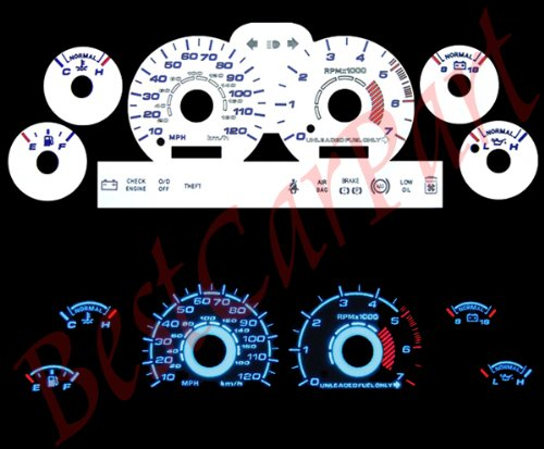 (White FACE Glow GAUGES for 94-98 Ford Mustang V6 )