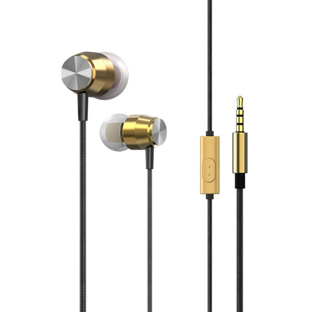 Sunfei 3.5mm With Microphone Bass Stereo In-Ear Earphones Headphones Headset Earbuds (❤️Gold❤️)