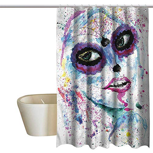 RenteriaDecor Shower Curtains Cats Girls,Halloween Lady Make Up,W72 x L84,Shower Curtain for Girls -