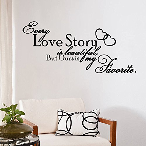 NOYT Wall Sticker Paper Mural Art Decal Home Room Decor Office Wall Mural Wallpaper Art Sticker Decal for Home Bedroom Love Is Beautiful But My Eveyr Story Living Room Bedroom