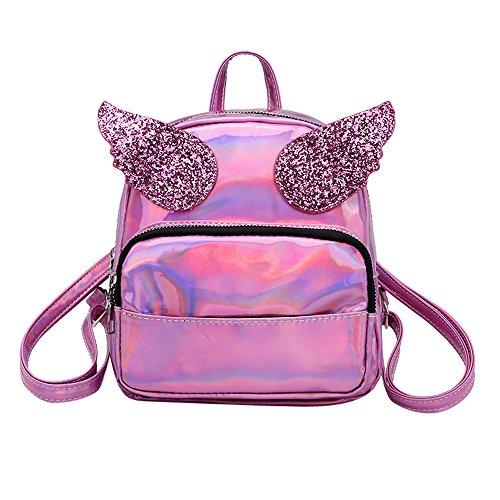 ALIKEEY Chica De Moda Mochila Bolsa Satchel Rodi Laser Escuela Las Mujeres Bolsa De Hombro  Trave Pink