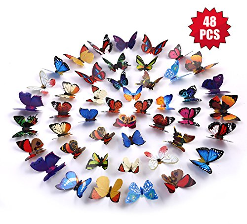 eoorau 3D Butterfly Removable Mural Stickers Wall Stickers Decals Wall Decor Home Decor Kids Room Bedroom Decor Living Room Decor (48pcs)