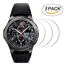 Samsung Gear S3 Screen Protector [3 Pack], AILRINNI [Ultra Clear] Full Coverage Tempered Glass Screen Protector, 9H Hardness / Easy Bubble-Free Installation Cover Film for Samsung Gear S3 Frontier Smartwatch [Lifetime Warranty]