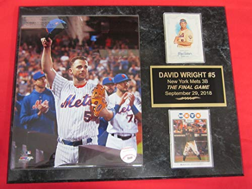 Mets David Wright 2 Card Collector Plaque #6 w/8x10 Photo Final Game 2018
