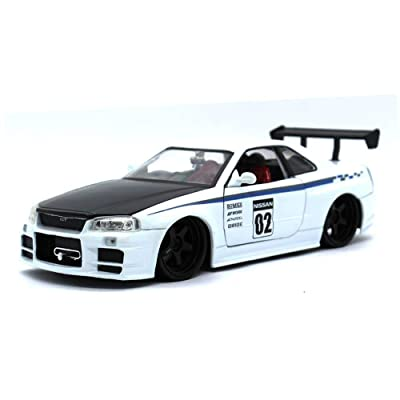 Jada 99113 2002 Nissan Skyline GT-R R34 White #02 JDM Tuners 1/24 Diecast Model Car: Toys & Games