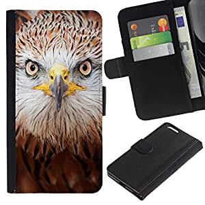 Planetar® Modelo colorido cuero carpeta tirón caso cubierta piel Holster Funda protección Apple (5.5 inches!!!) iPhone 6+ Plus / 6S+ Plus ( Hawk Eagle Bird Prey Brown Nature )