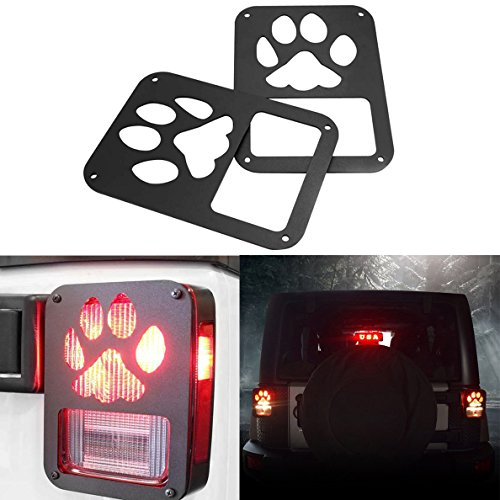 IBACP Tail Light Cover Guard Dog Paw Guards Protectors Covers for 2007-2017 Jeep Wrangler JK Pair