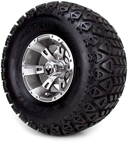 10″ MODZ Ambush Gunmetal Golf Cart Wheels and All Terrain Tires Combo Set of 4