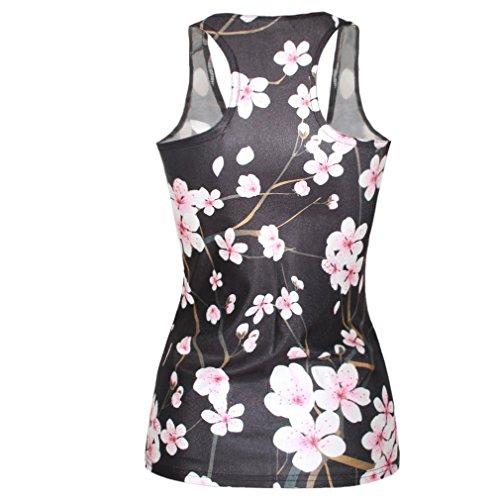 Ninimour- Quality Cute Digital Print Tank Top Vest Camisole (Cherry Blossom)
