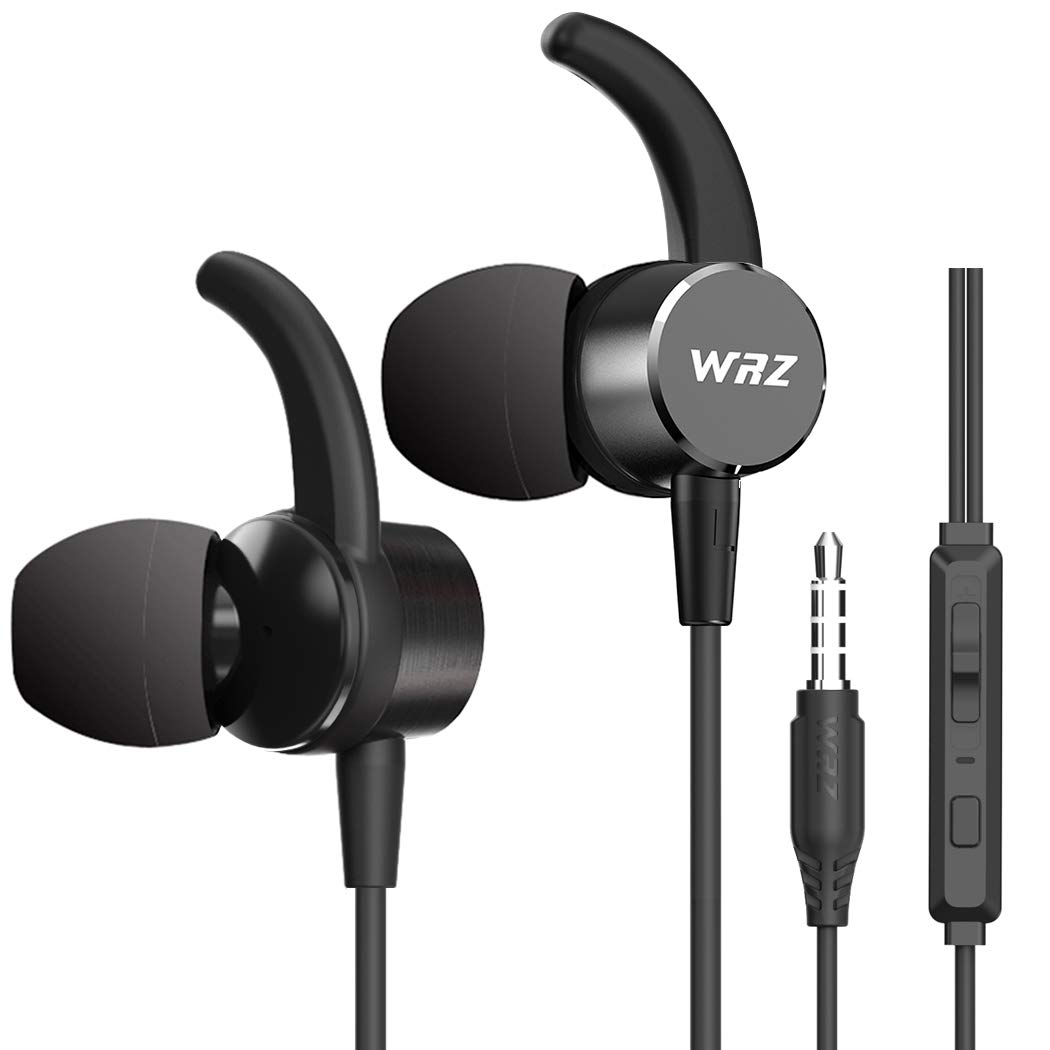 VVRZ Wired Earbuds In Ear Headphones Noise Isolating Earphones Bass Stereo Headsets With Microphone Volume Control Remote For Android IOS Tablet Laptop Computer Gym Running Jogging workout Black