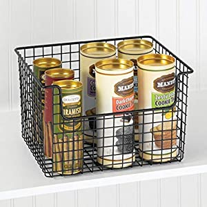mDesign Metal Kitchen Pantry Food Storage Organizer Basket – Farmhouse Grid Design with Open Front for Cabinets, Cupboards, Shelves – Holds Potatoes, Onions, Fruit – Black