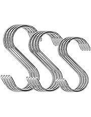 Hangende haken, 3 maten 12 stks roestvrij staal S vormige hangende haken hangers voor keukengerei, badkamer, slaapkamer, pannen, kleding, tassen