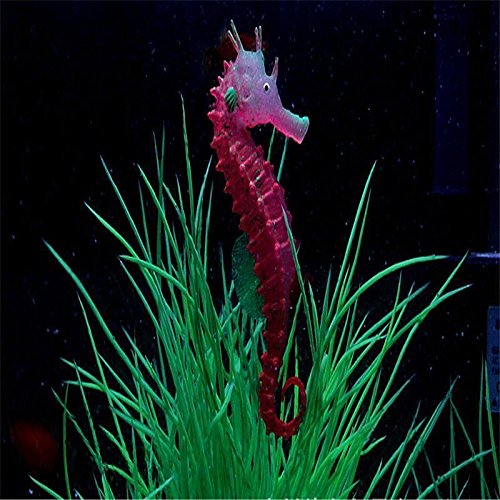 "New Aquarium Fish Tank Landscaping Decoration Glow Simulation Hippocampus Ornament ""Red""Set 033"