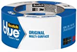 3M Scotch-Blue 2090 Safe-Release Crepe Paper Multi-Surfaces Painters Masking Tape, 27 lbs/in Tensile Strength, 60 yds Length x 2'' Width, Blue