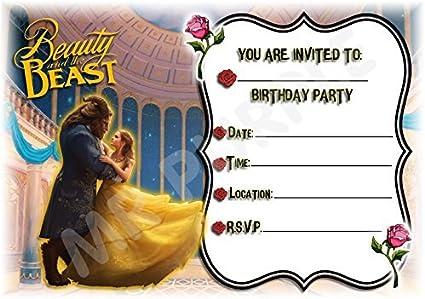 Disney La Bella y la bestia diseño de cumpleaños – invitaciones para fiestas – Película – Parte suministros/accesorios (Pack de 12 invitaciones A5) WITH Envelopes: Amazon.es: Oficina y papelería