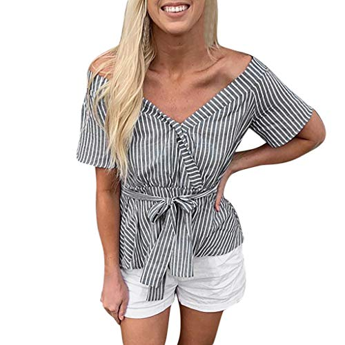 Dressin 2019 Fashion Womens Stripe Knot Bandage V-Neck Short Sleeve Blouse Tops T-Shirt with Belt - Top Peasant Voile
