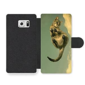 Cute Cat Walking On The Clouds Faux Leather case for Samsung Galaxy S6 Edge