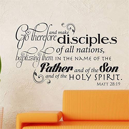 Vinyl Wall Statement Family DIY Decor Art Stickers Home Decor Wall Art Go Therefore and Make Disciples of All The Nations (Go Therefore And Make Disciples Of All Nations)