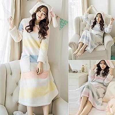 Cute Sleeping Dress Home Dress, Anboo Women's Casual O-Neck Striped Winter Warm with Rabbit Ear Hat Long Sleeve Dress Cute Cartoon Dress