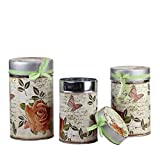 """Set of 3 Vintage Spring Rose and Butterfly Stackable Metal Canisters 7.5"""", 8.5"""" and 9.5"""""""