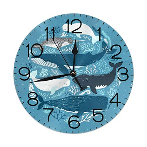 Dujiea Whale Dolphin Round Wall Clock Silent Non Ticking Battery Operated 9.5 Inch for Student Office School Home Decorative Clock Art
