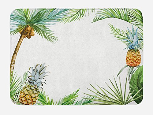 Ambesonne Pineapple Bath Mat by, Watercolor Tropical Island Style Border Print Exotic Fruit Palm Trees and Leaves, Plush Bathroom Decor Mat with Non Slip Backing, 29.5 W X 17.5 W Inches, Multicolor