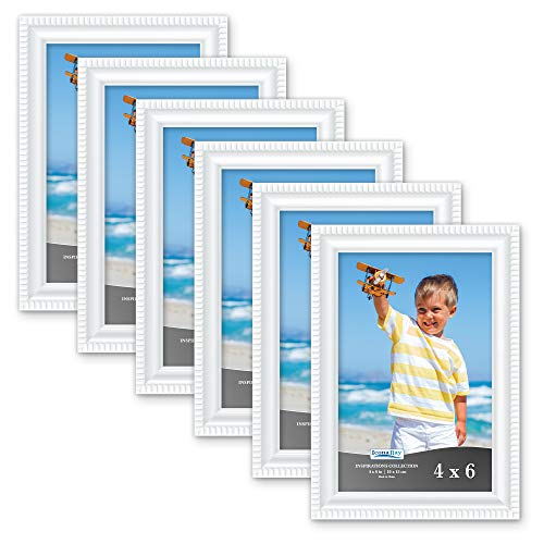 Icona Bay 4x6 Picture Frames (6 Pack, White) Picture Frame Set, Wall Mount or Table Top, Set of 6 Inspirations Collection