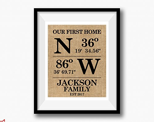 Announcements Housewarming Invitations - Our First Home | Personalized GPS coordinates Family Housewarming Gift | House Warming Gift, Family Name Sign, Home Address Sign, Burlap New House